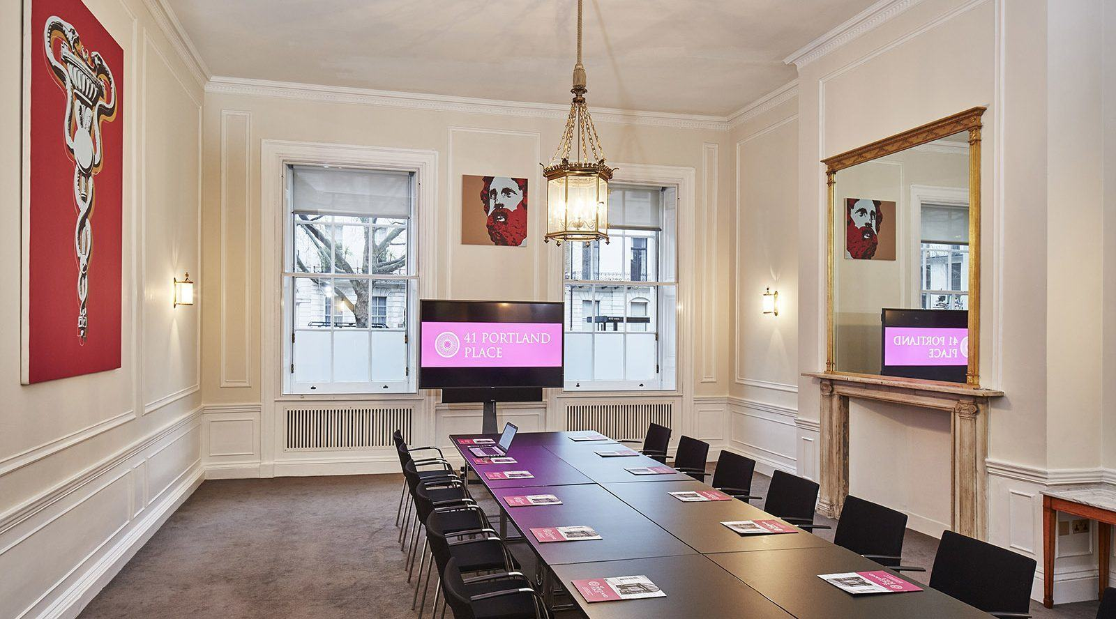Board room with period features and contemporary art