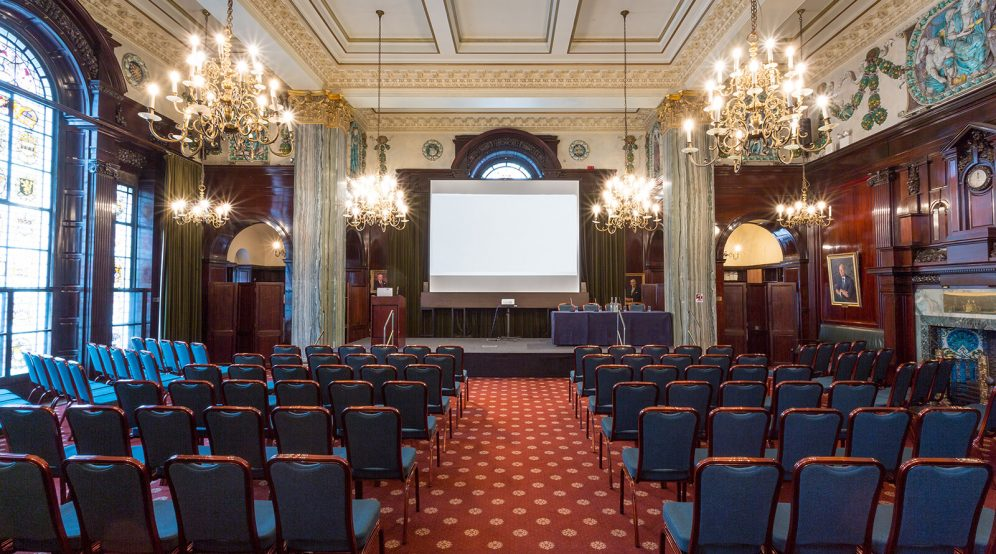 Conference set up in Common Room, suitable for up to 280 guests