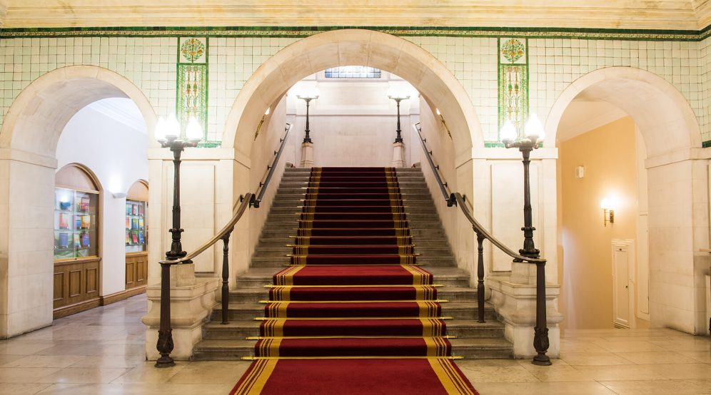 Grand marble staircase leading to the Common Room.