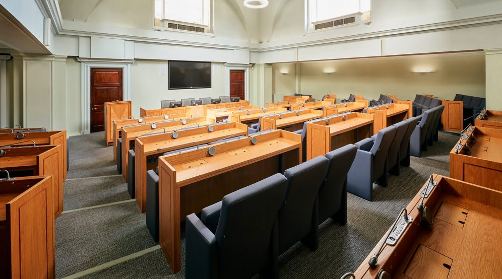 Our Council Chamber comes equipped with all the AV you require.