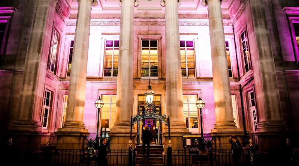 Uplight the venue in your company colours. Exterior of 113 Chancery Lane