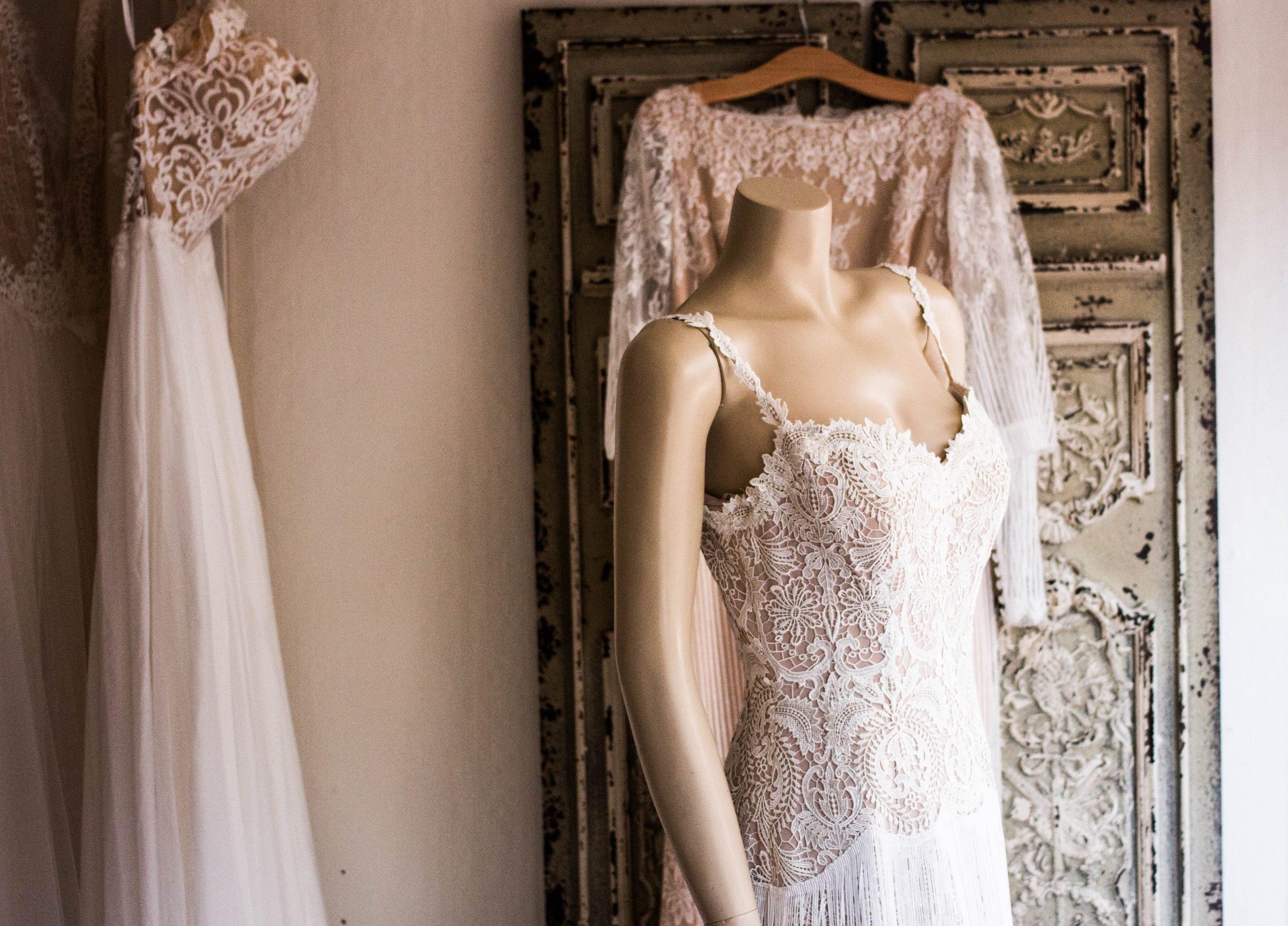 A wedding dress on a mannequin
