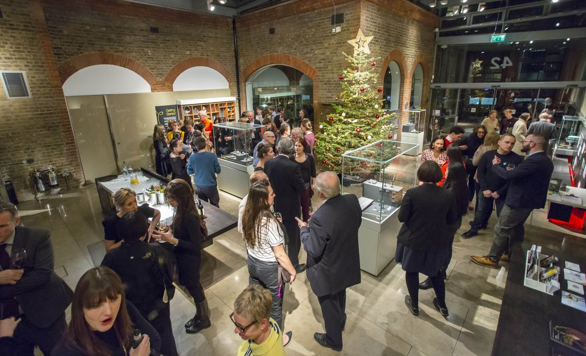 People celebrating at a quirky Christmas Party venue in London